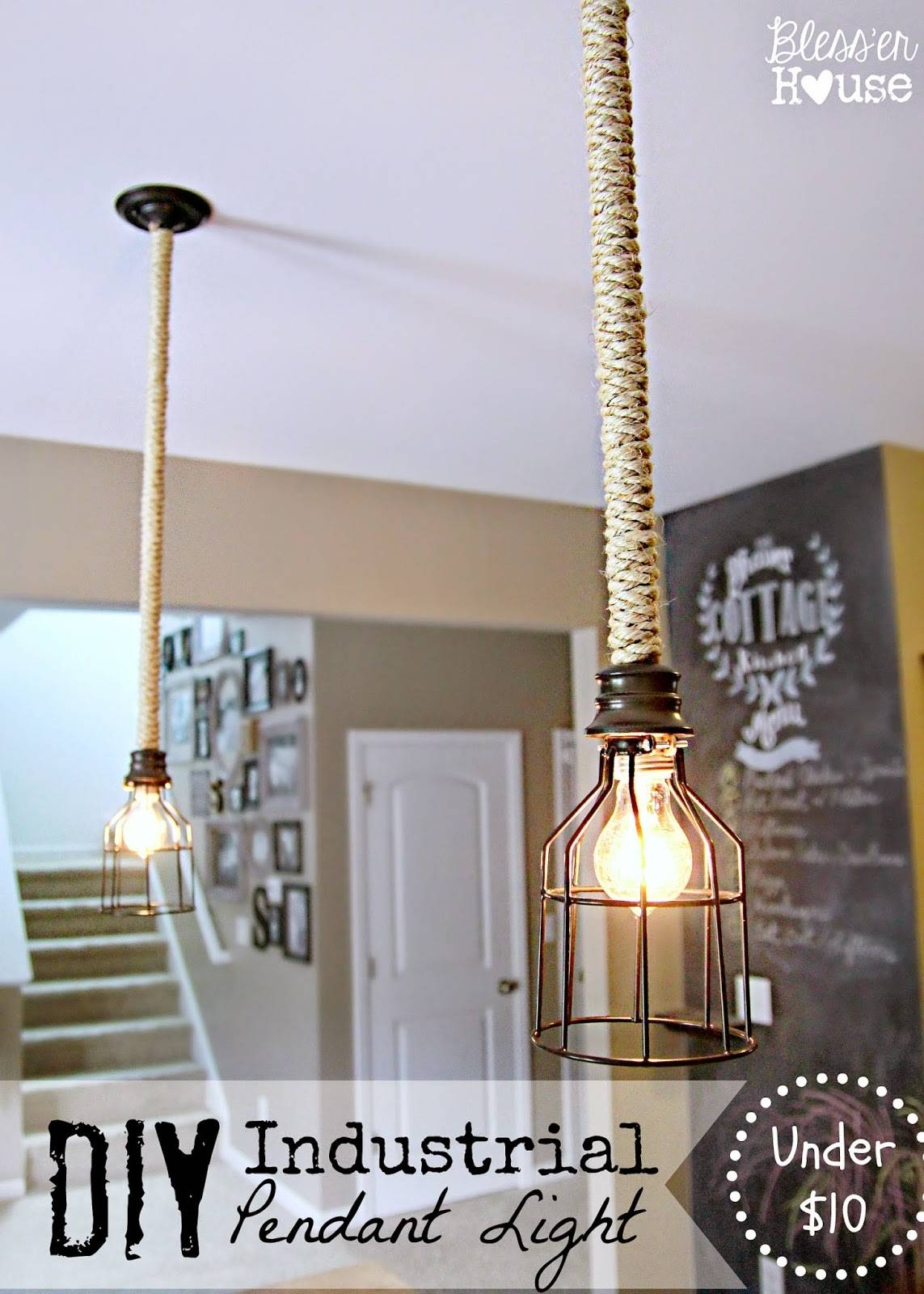 5 Diy Industrial Light Fixtures For Under $25 - Bless'er House for Chicken Wire Pendant Lights (Image 3 of 15)