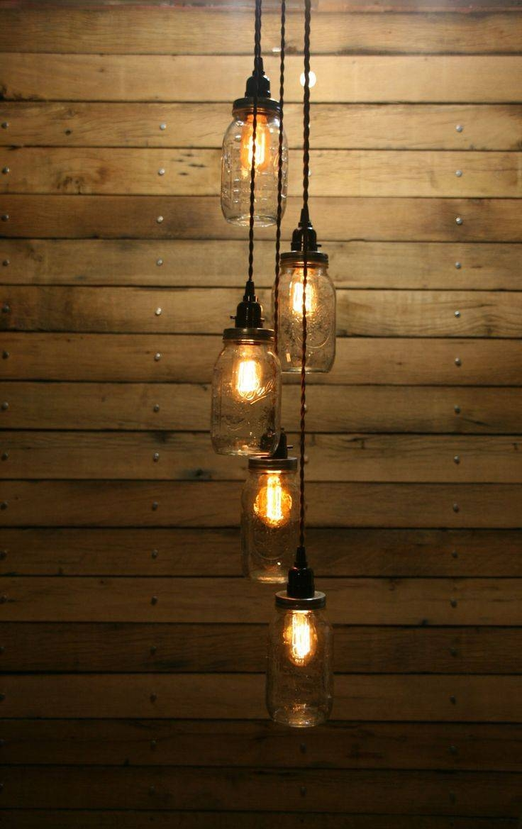 5 Jar Pendant Light   Mason Jar Chandelier Light   Staggered Throughout Etsy Pendant Lights (Photo 10 of 15)