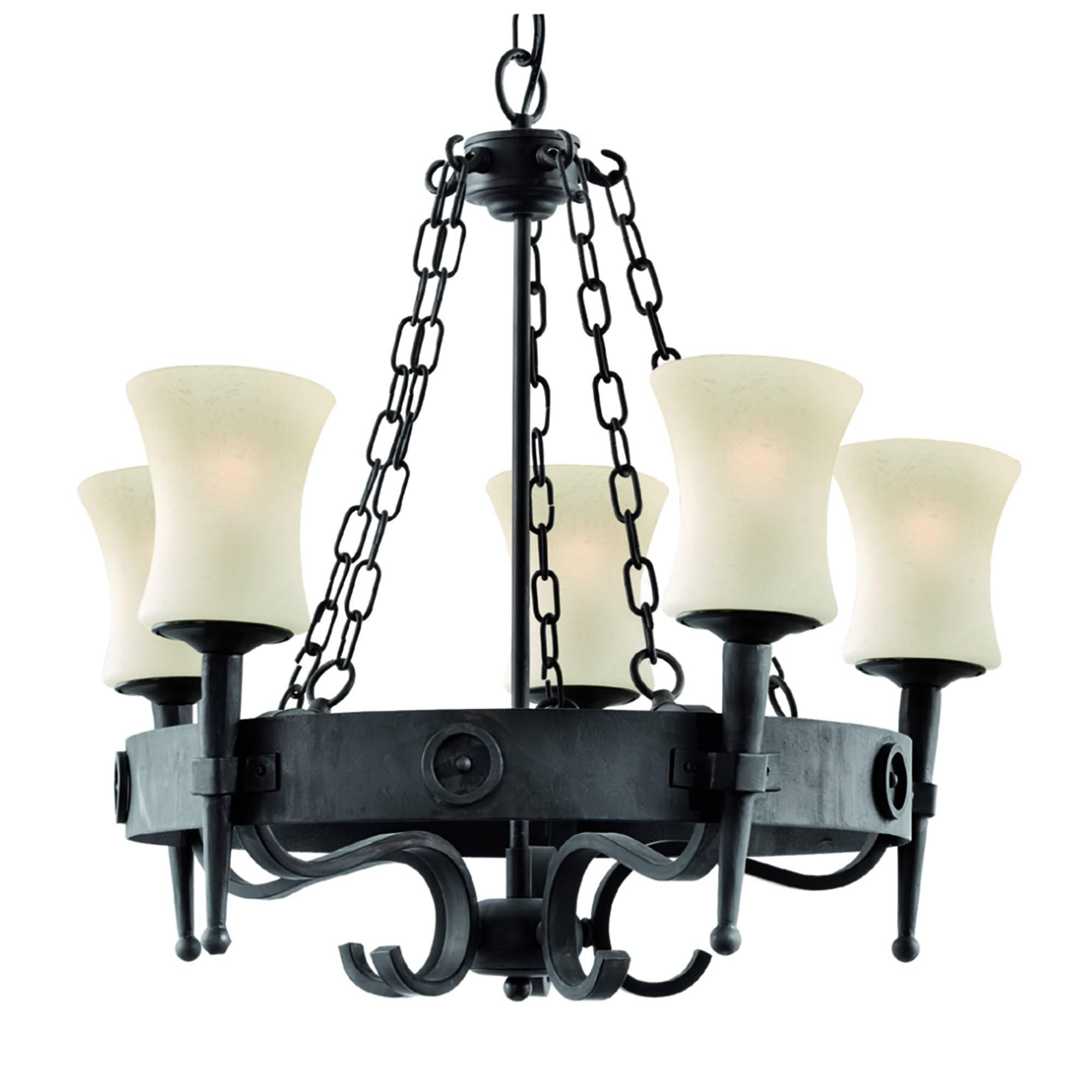 5 Light Fitting In Black/brown Wrought Iron & Scavo Glass Shades pertaining to Wrought Iron Lights Fittings (Image 5 of 15)