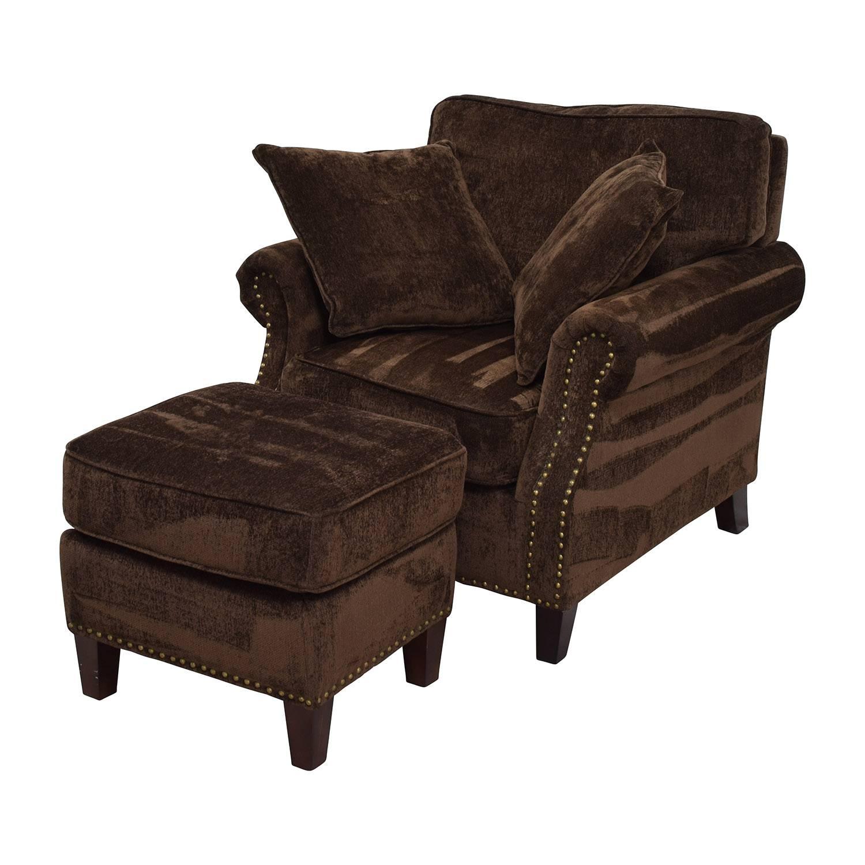 55% Off - Bob's Furniture Bob's Furniture Mirage Studded Brown regarding Brown Sofa Chairs (Image 2 of 15)