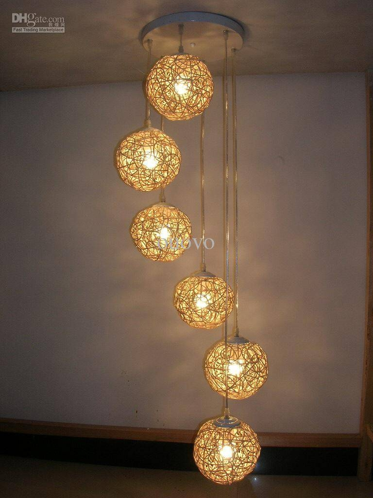 6 Light Natural Rattan Woven Ball Stair Pendant Light Living Room For Rattan Lights Fixtures (Gallery 12 of 15)