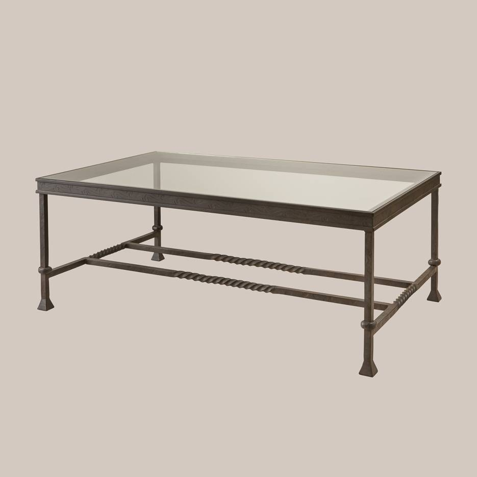 6051 Iron & Glass Rectangular Coffee Table | Paul Ferrante with regard to Rectangle Glass Coffee Table (Image 1 of 15)