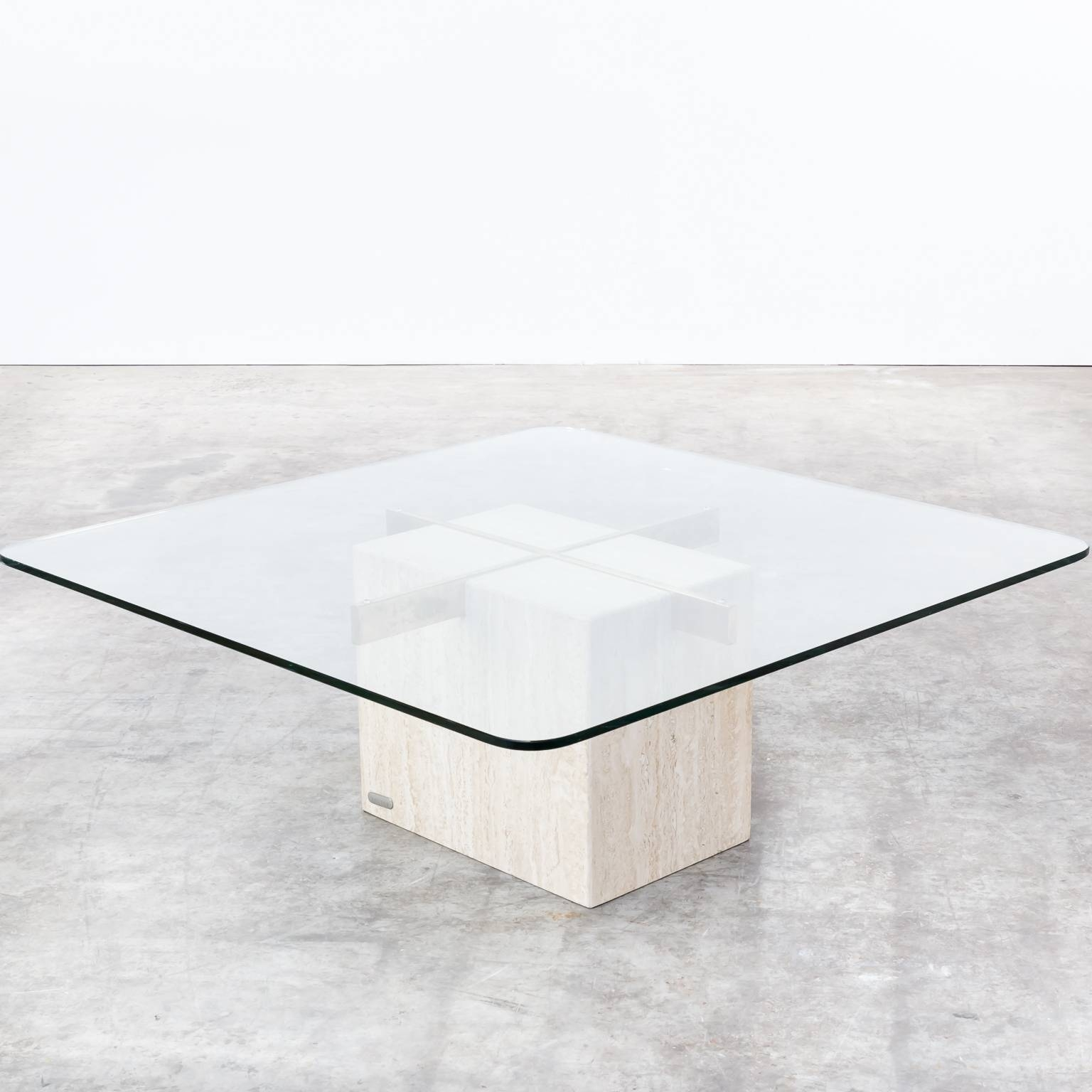 Wonderful Marble Base Glass Top Coffee Table Part - 7: 70S Artedi Italian Travertine Base, Glass Top Coffee Table | Barbmama  Pertaining To Marble Base