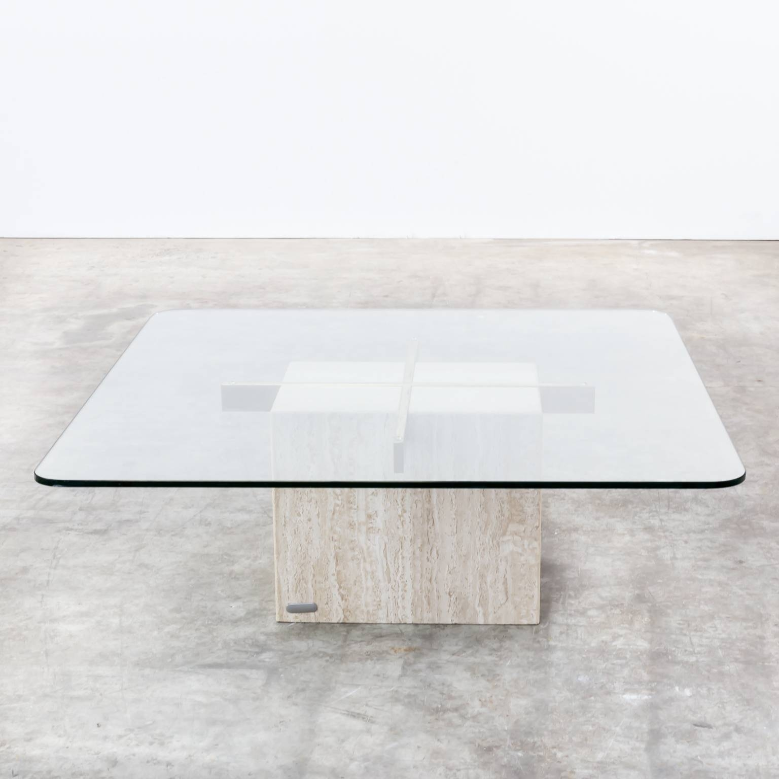 Marble Base Glass Top Coffee Table Part - 17: 70S Artedi Italian Travertine Base, Glass Top Coffee Table | Barbmama  Throughout Marble Base Glass
