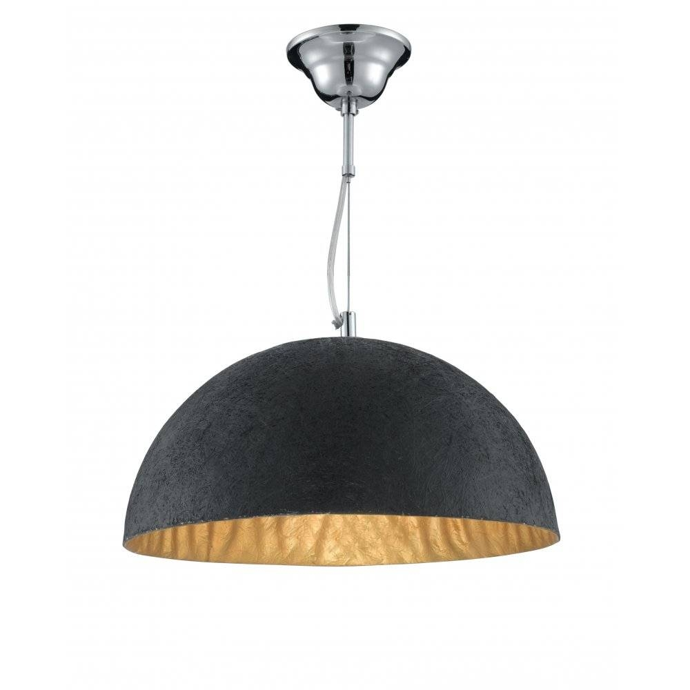8149Go 38Cm Dome Pendant Black And Gold Intended For Large Dome Pendant Lights (Photo 14 of 15)