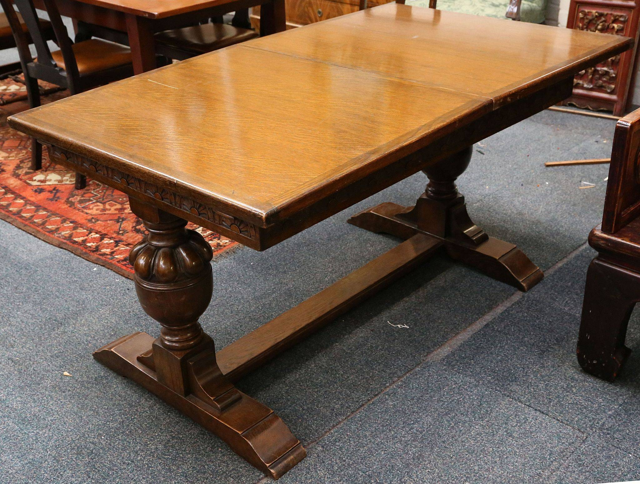A 1940S Oak Extending Dining Table Blind Carved Apron Supported On With Jacobean Coffee Tables (View 7 of 15)