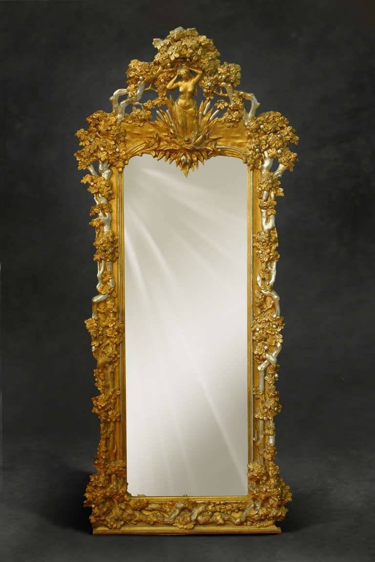 A French Napoleon Iii Gilt And Silvered Carved Wood And Gesso Full For Full Length Antique Mirrors (View 1 of 15)