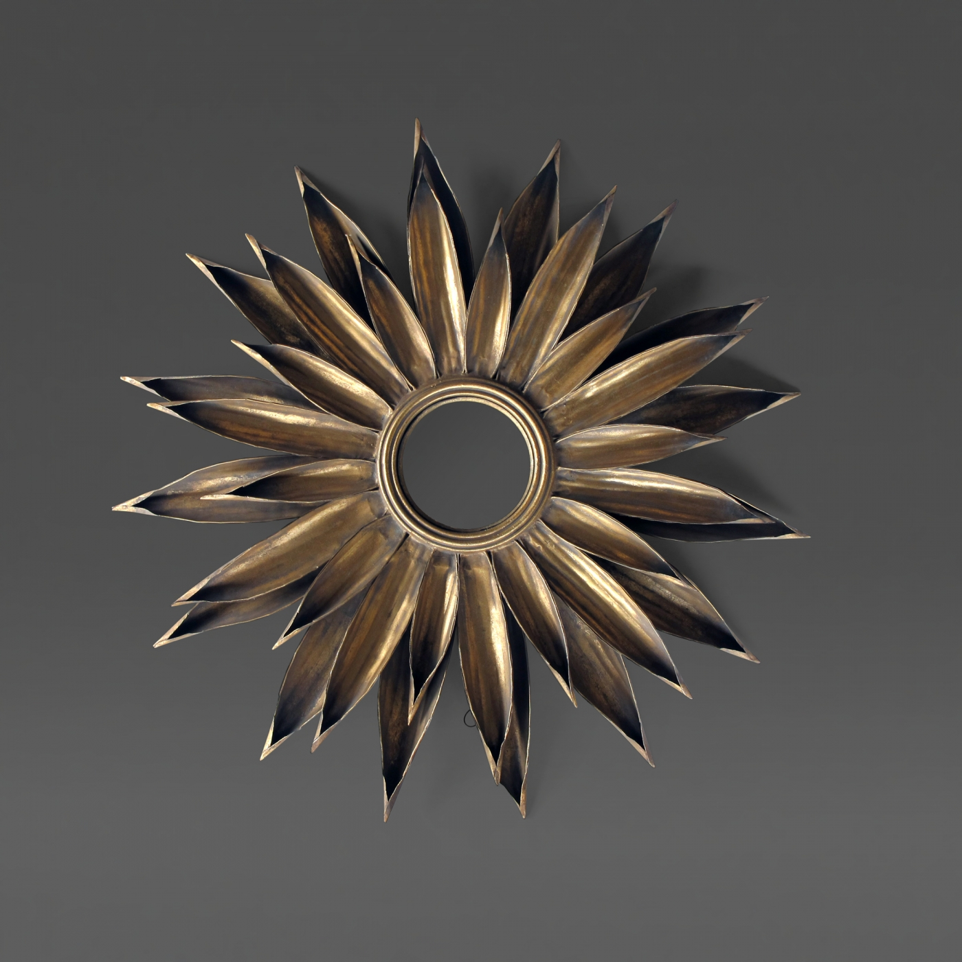 A Large Scaled French 1940's Gilt Tole Foliate Starburst Convex Mirror For Starburst Convex Mirrors (View 2 of 15)
