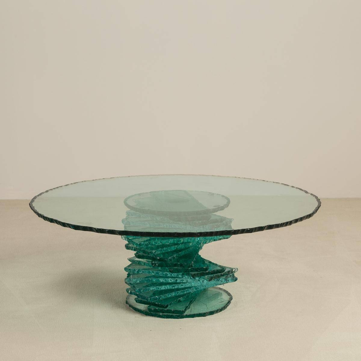 A Late 20Th Century Spiral Pedestal Based Glass Coffee Table throughout Spiral Glass Coffee Table (Image 2 of 15)