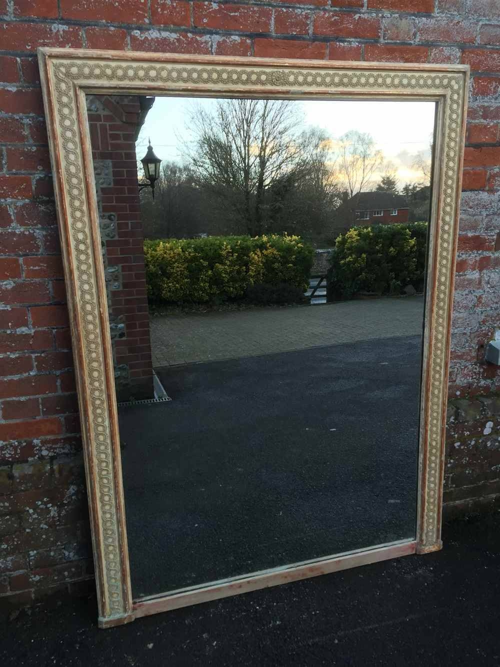 A Stunning Large Early Antique 19Th Century French Carved Wood inside Distressed Cream Mirrors (Image 3 of 15)