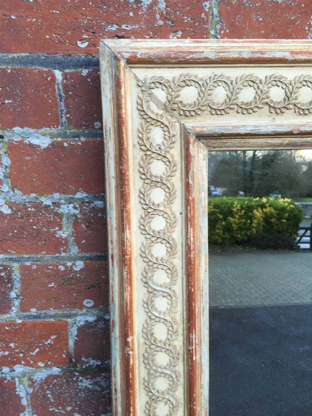 A Stunning Large Early Antique 19Th Century French Carved Wood with Distressed Cream Mirrors (Image 4 of 15)