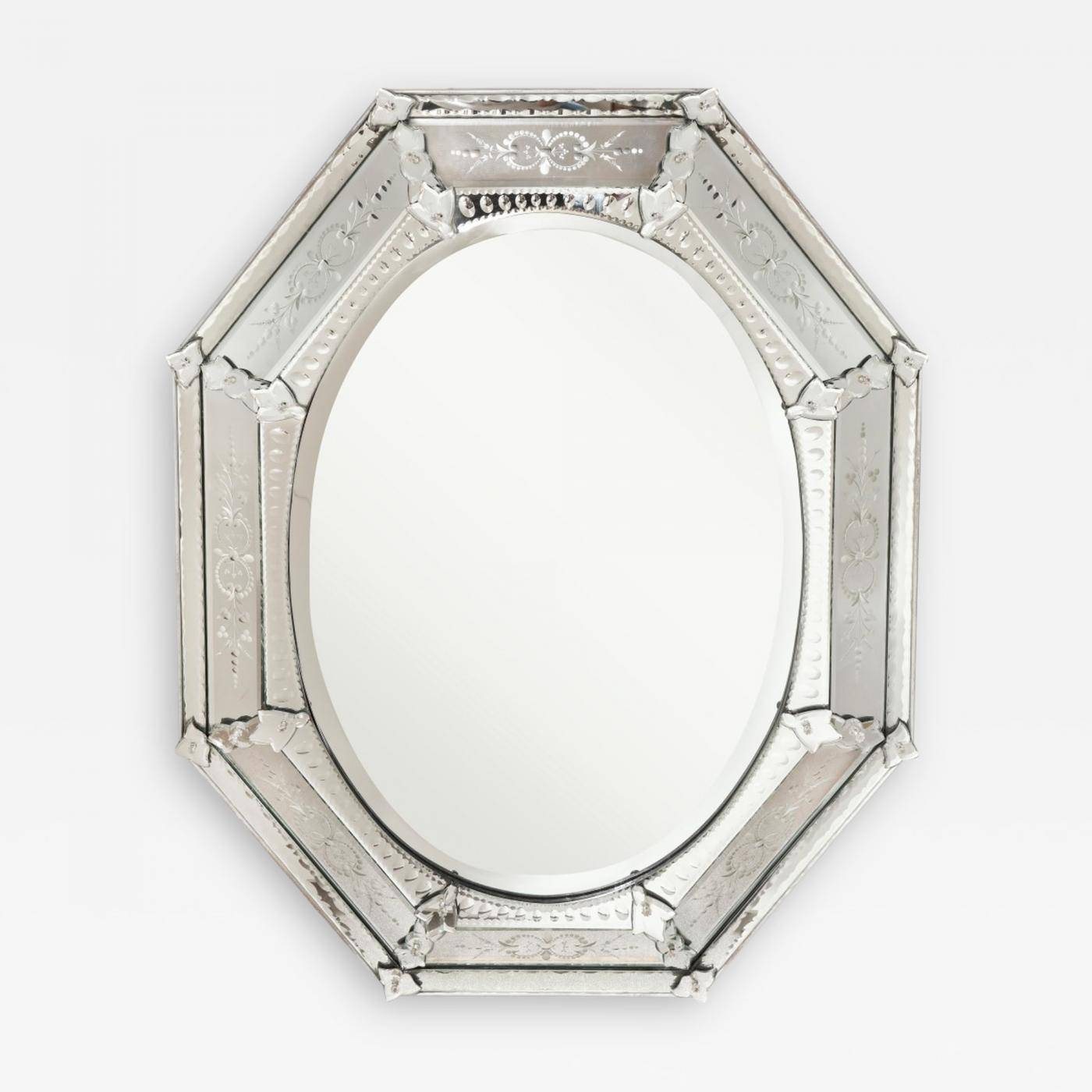 A Venetian Etched Glass Mirror pertaining to Venetian Etched Glass Mirrors (Image 2 of 15)