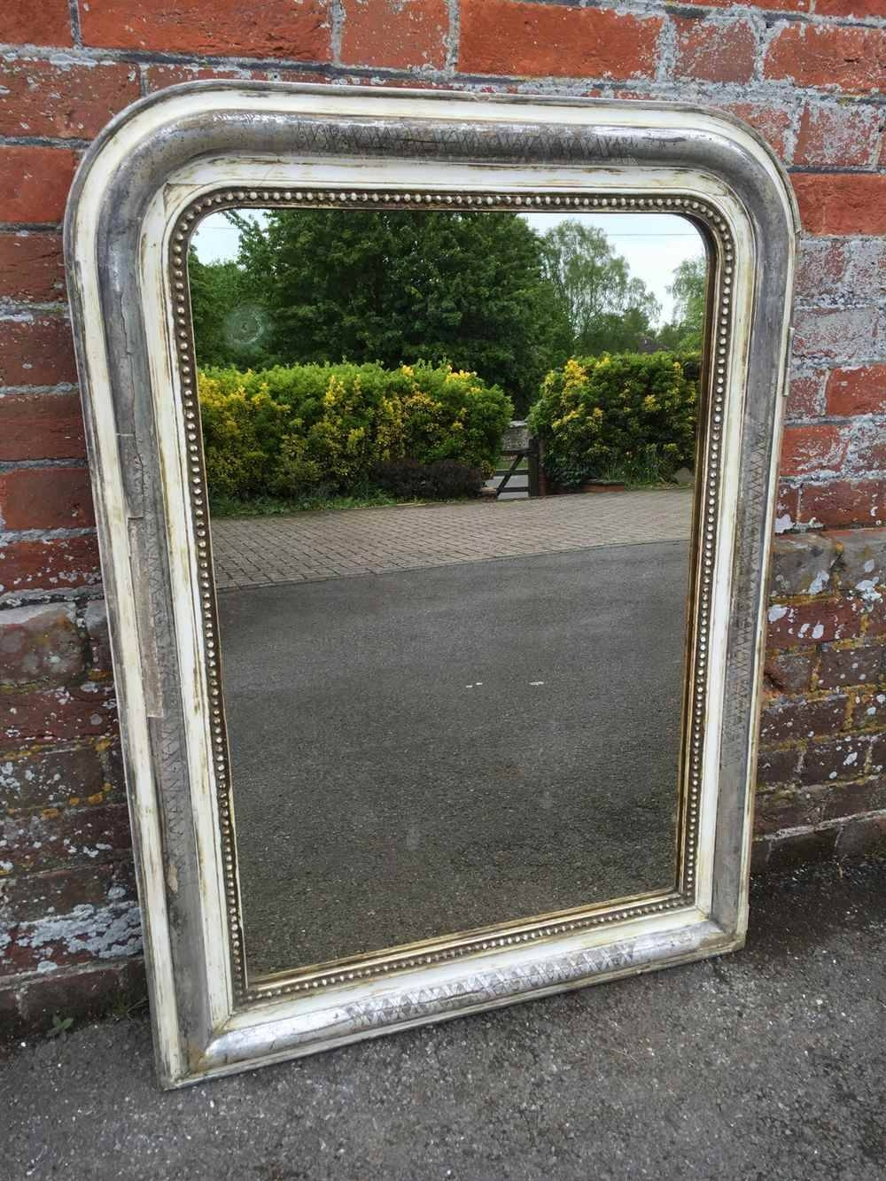 A Very Decorative Useful Size Antique 19Th Century French Original inside Distressed Cream Mirrors (Image 5 of 15)
