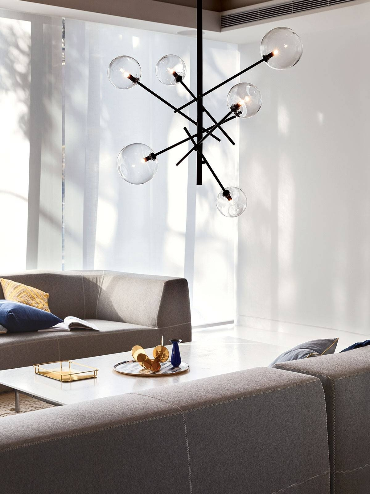 Aksel 6 Light Pendant In Black/clear throughout Beacon Pendant Lights (Image 6 of 15)