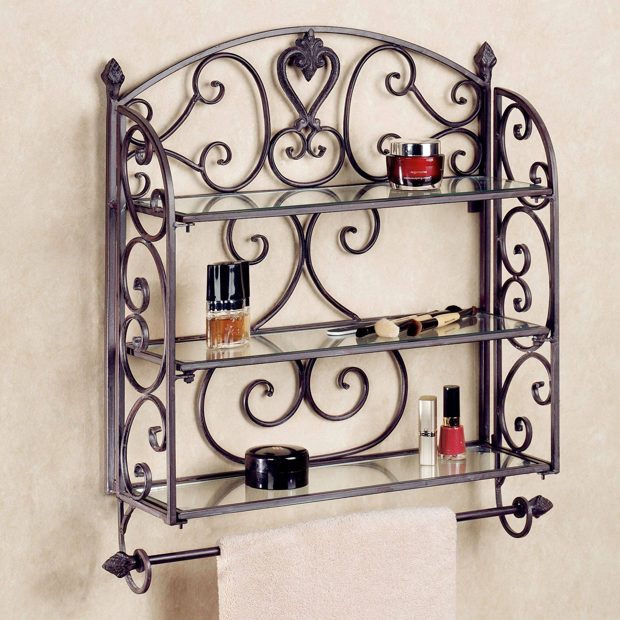 Aldabella Tuscan Slate Wall Shelf Towel Bar throughout Wrought Iron Bathroom Mirrors (Image 3 of 15)