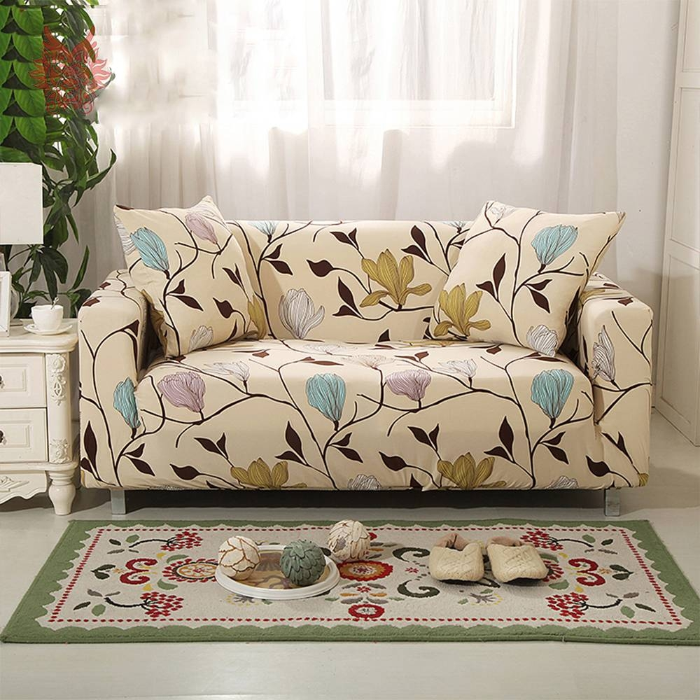 Aliexpress : Buy 1Seat 2Seats 3Seats 4Seats Floral Print Pertaining To Floral  Sofa Slipcovers (Image