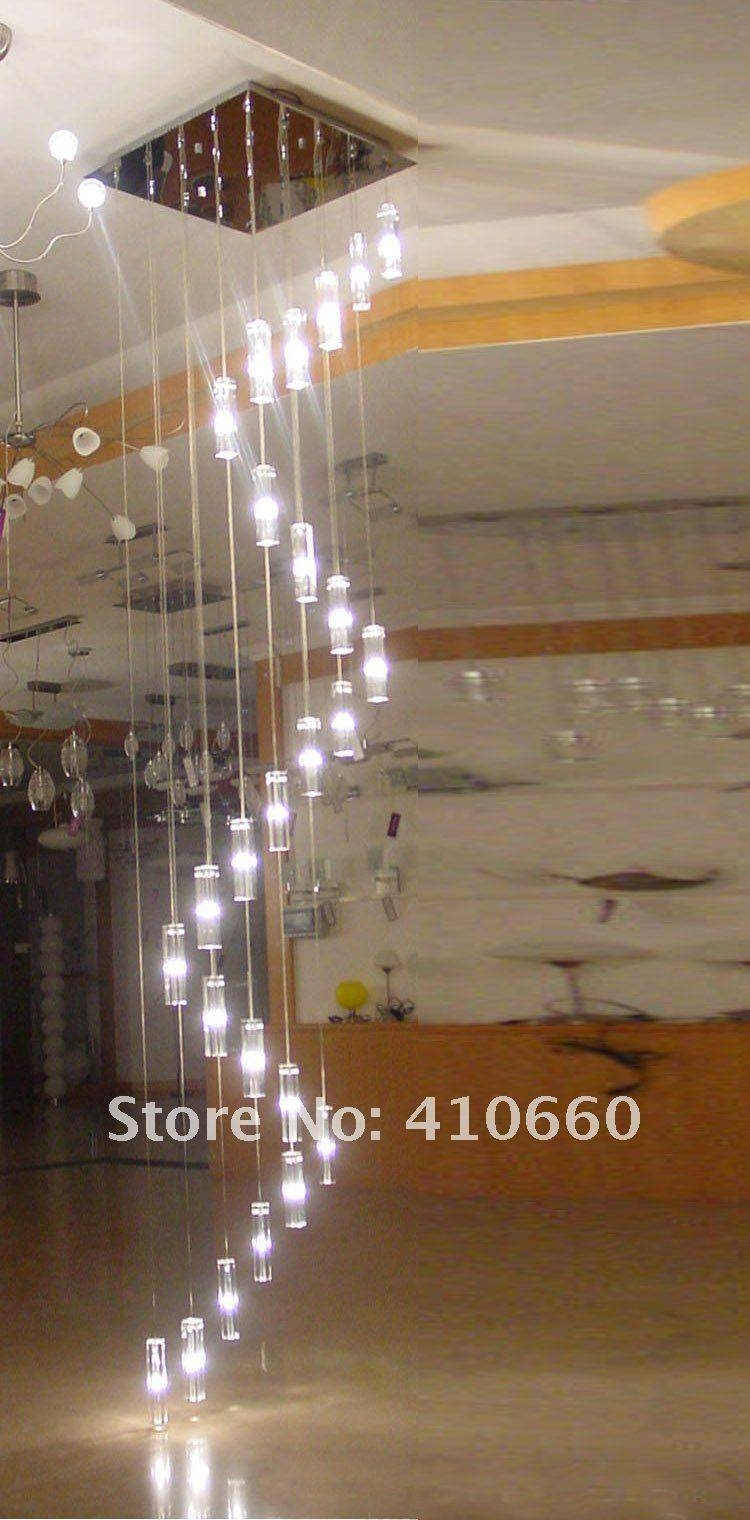 Aliexpress : Buy Led Crystal Chandelier Lighting Stairway Long regarding Stairwell Pendant Lights (Image 3 of 15)