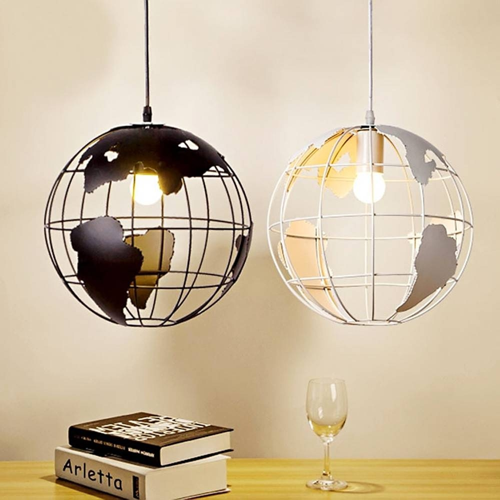 Aliexpress : Buy Pendant Light 28Cm Black/white Creative Globe for Earth Globe Lights Fixtures (Image 1 of 15)