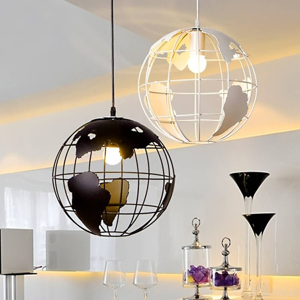 Aliexpress : Buy Pendant Light 28Cm Black/white Creative Globe with Earth Globe Lights Fixtures (Image 2 of 15)