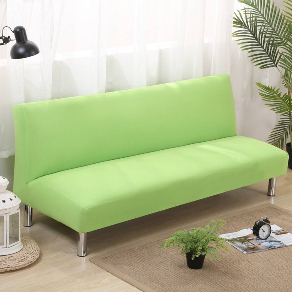 Aliexpress : Buy Solid Color Armless Couch Sofa Covers For within Armless Couch Slipcovers (Image 2 of 15)