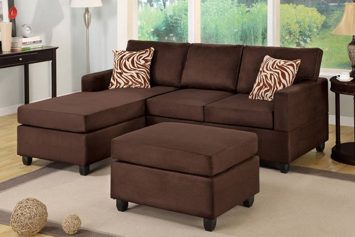 All-In-One Microfiber Plush Sectional Sofa With Ottoman inside Chocolate Brown Microfiber Sectional Sofas (Image 2 of 15)