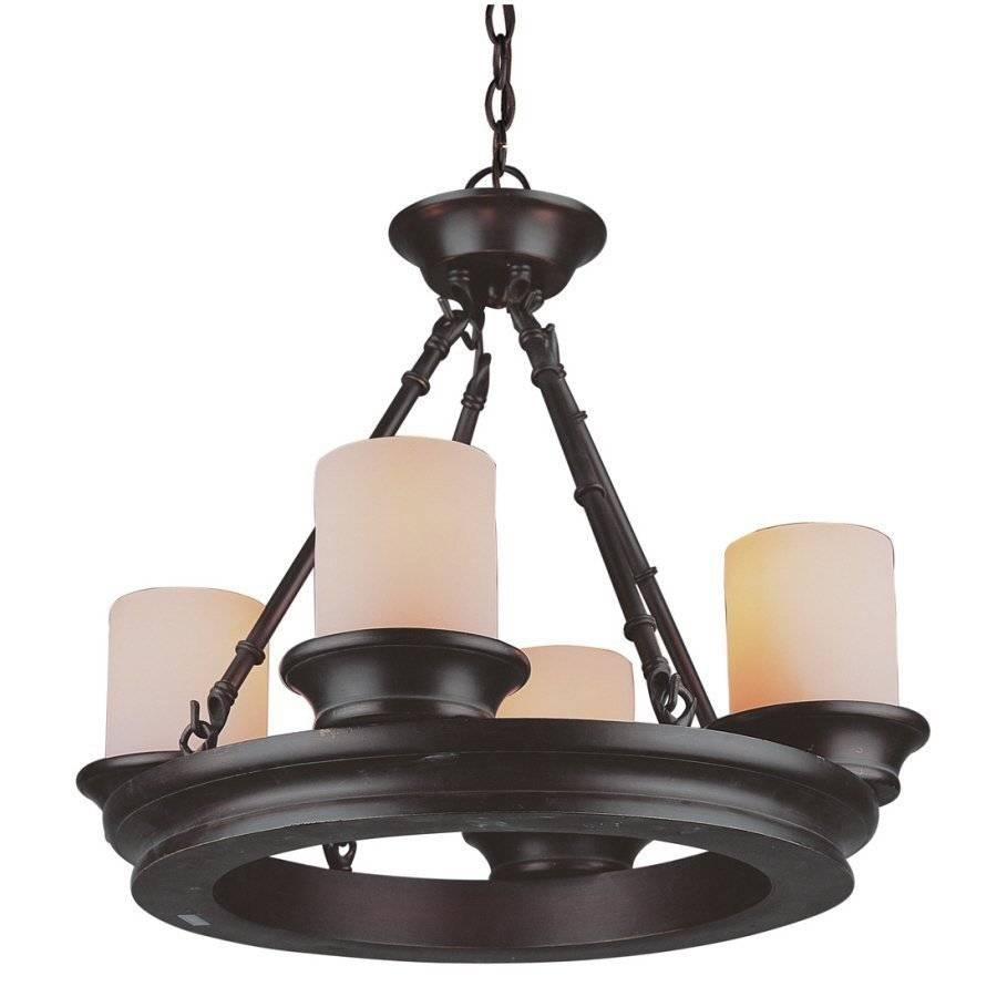 Allen + Roth 3364 4-Light Bronze Chandelier | Lowe's Canada throughout Allen and Roth Lights (Image 1 of 15)