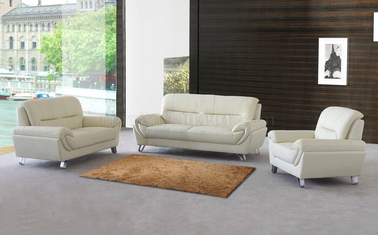 Almond Leather Modern Sofa, Loveseat & Chair Set W/options regarding Contemporary Sofas And Chairs (Image 1 of 15)