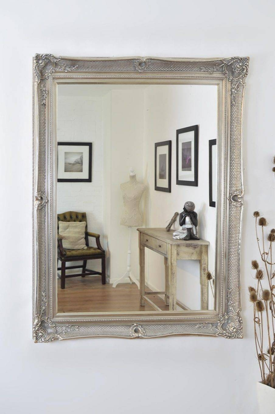 Amazing Shabby Chic Wall Mirror Shop Large Grey Satin Shabby throughout White Large Shabby Chic Mirrors (Image 2 of 15)