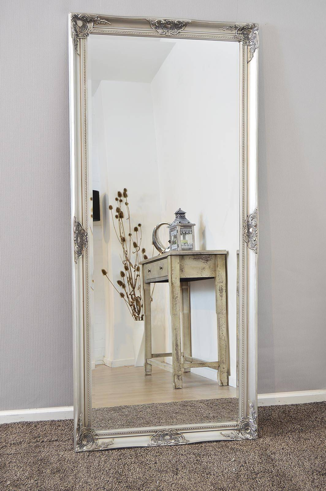 Amazing Shabby Chic Wall Mirror Shop Large Grey Satin Shabby with Silver Long Mirrors (Image 1 of 15)