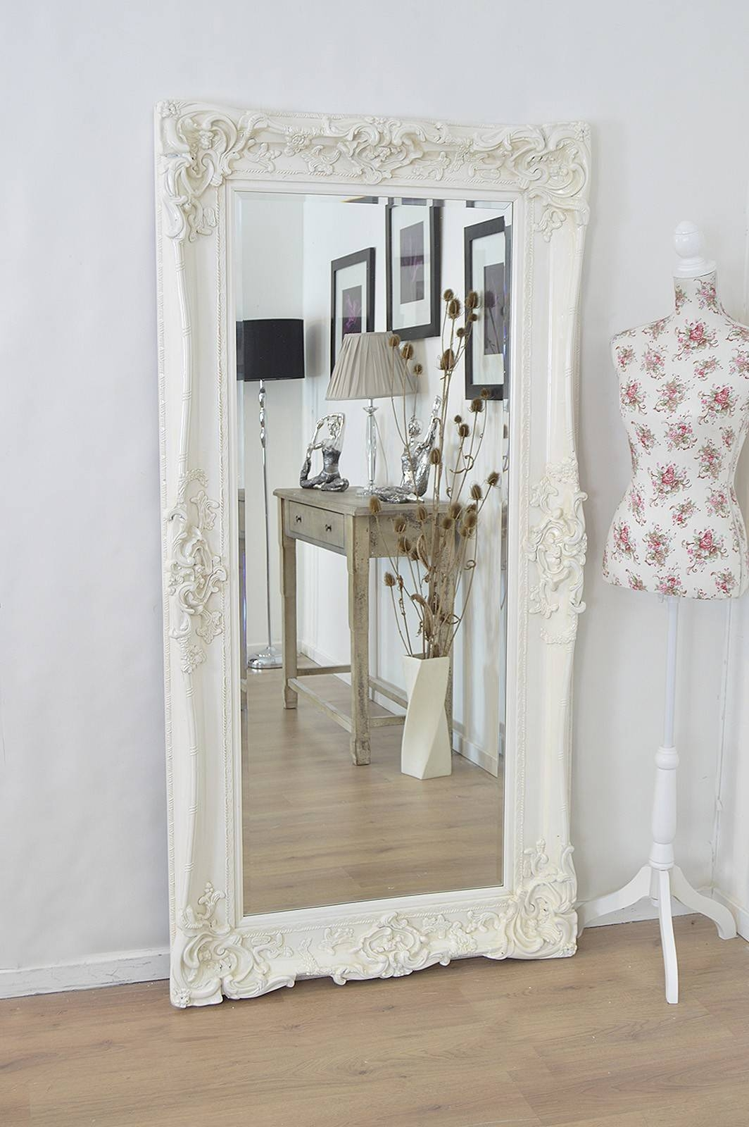 Amazing Shabby Chic Wall Mirror Shop Large Grey Satin Shabby within Shabby Chic Free Standing Mirrors (Image 4 of 15)