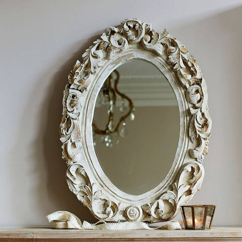 Amelia Floral Carved Oval Mirror In Antique White | Graham & Green regarding Antique White Oval Mirrors (Image 2 of 15)