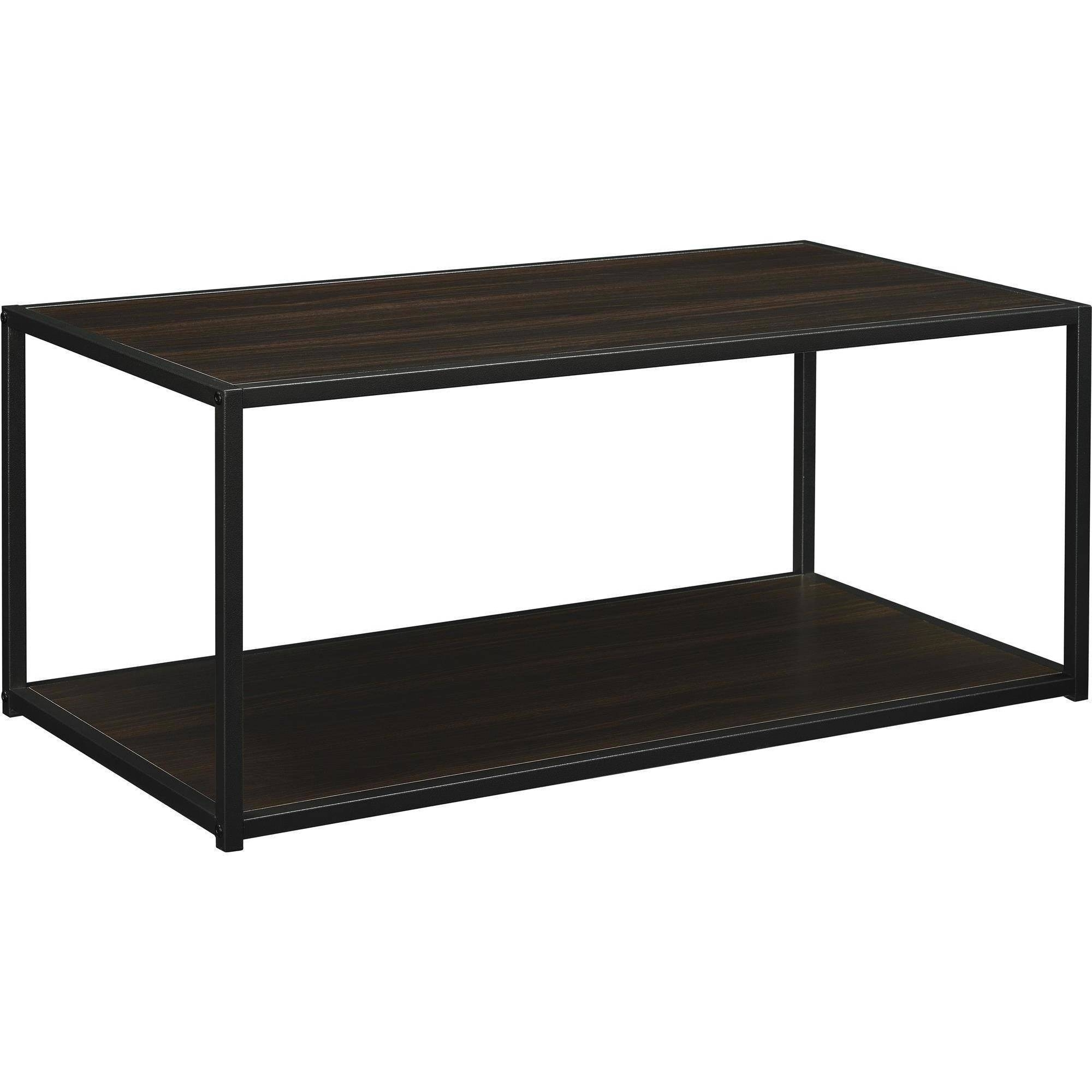 Ameriwood Home Canton Coffee Table With Metal Frame, Distressed for Metal And Wood Coffee Tables (Image 1 of 15)