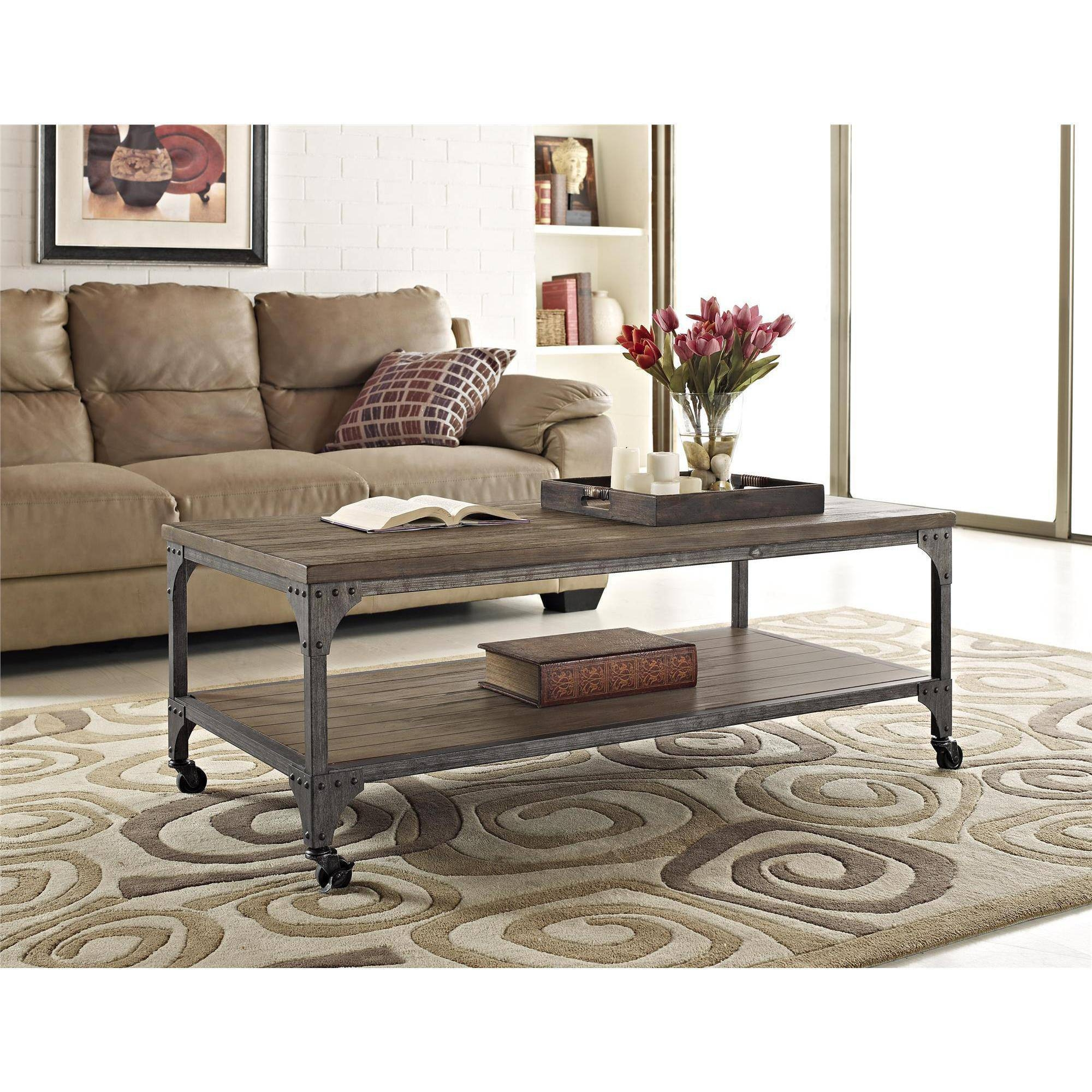 Ameriwood Home Cecil Wood Veneer Coffee Table, Rustic Medium Oak in Rustic Coffee Table and Tv Stand (Image 1 of 15)