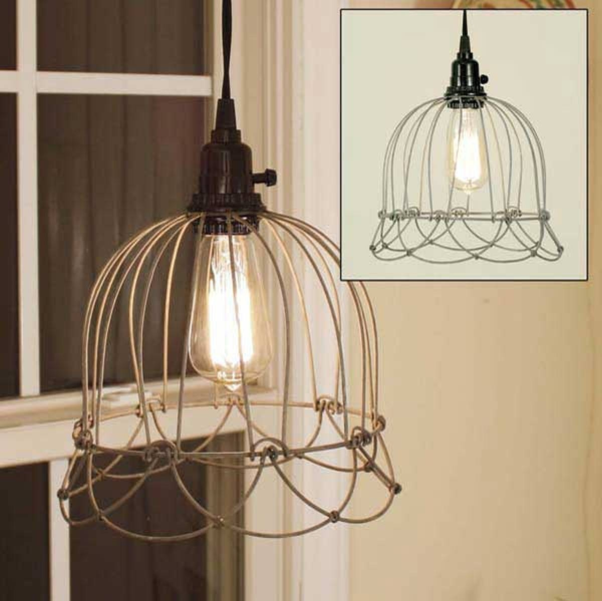 Amusing Wire Pendant Light 96 In Drum Shade Ceiling Light With with Chicken Wire Pendant Lights (Image 6 of 15)