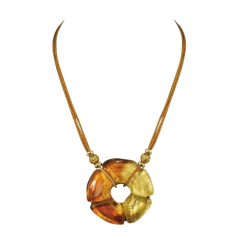 Anello Amber And Gold Venetian Murano Glass Pendant Necklace with Venetian Glass Pendants (Image 2 of 15)