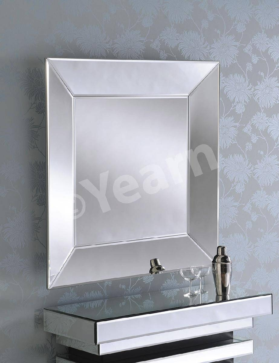 Angled Side Square Frameless Bevelled Art Deco Mirror – £ (View 2 of 15)
