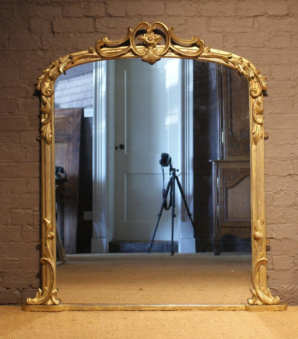 Antique 19Th Century Arch Top Carved Wood And Water Gilt pertaining to Wooden Overmantle Mirrors (Image 2 of 15)