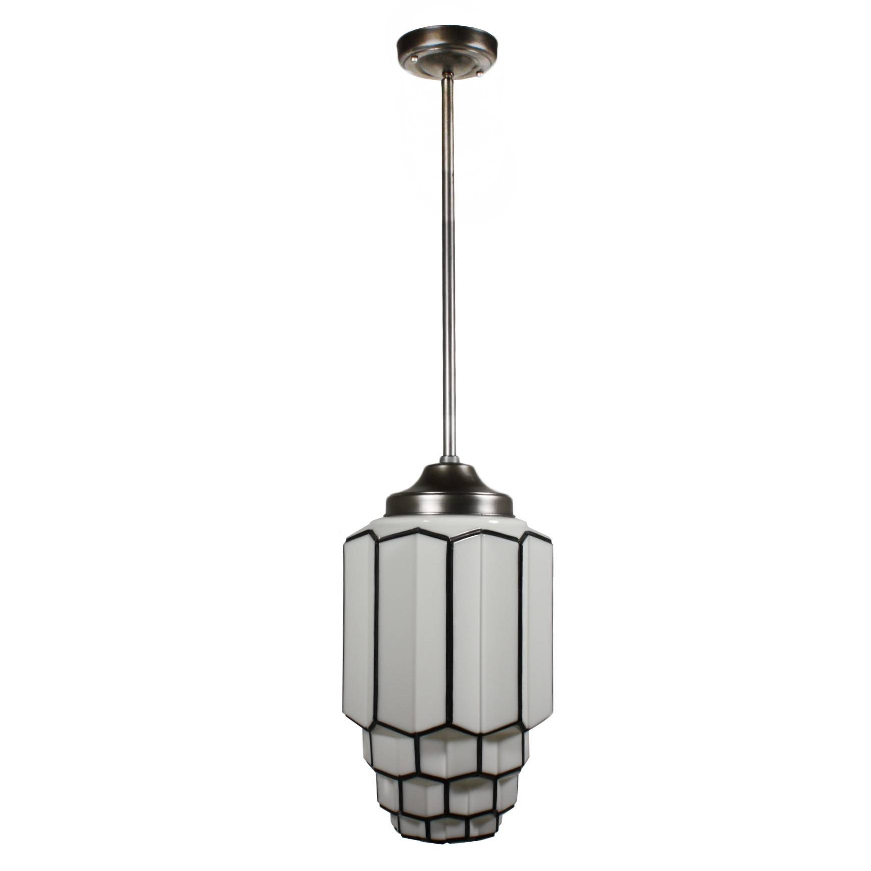 Antique Art Deco Pendant Light With Skyscraper Globe, C. 1930's inside Art Nouveau Pendant Lights (Image 3 of 15)