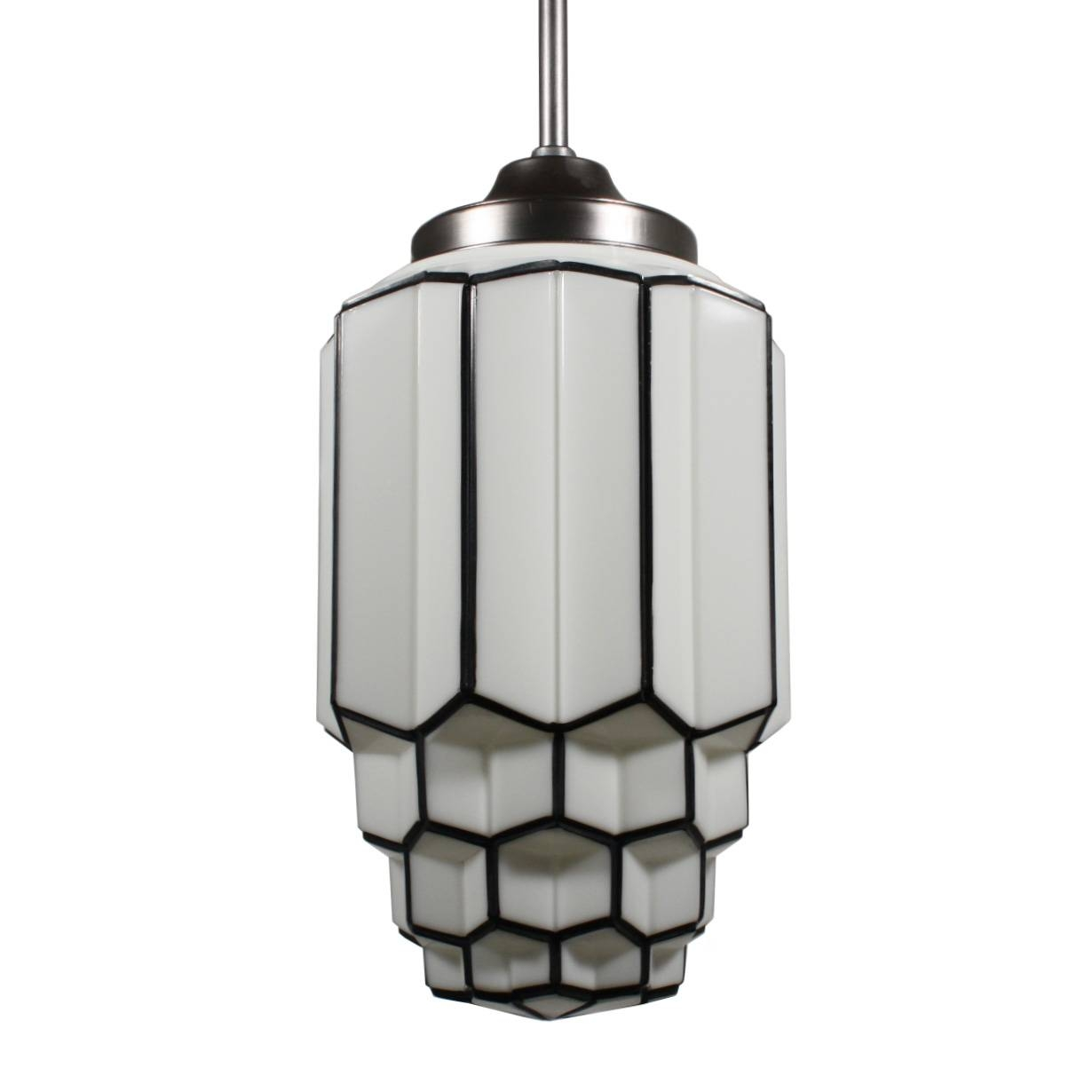 Antique Art Deco Pendant Light With Skyscraper Globe, C. 1930's pertaining to Art Nouveau Pendant Lights (Image 4 of 15)