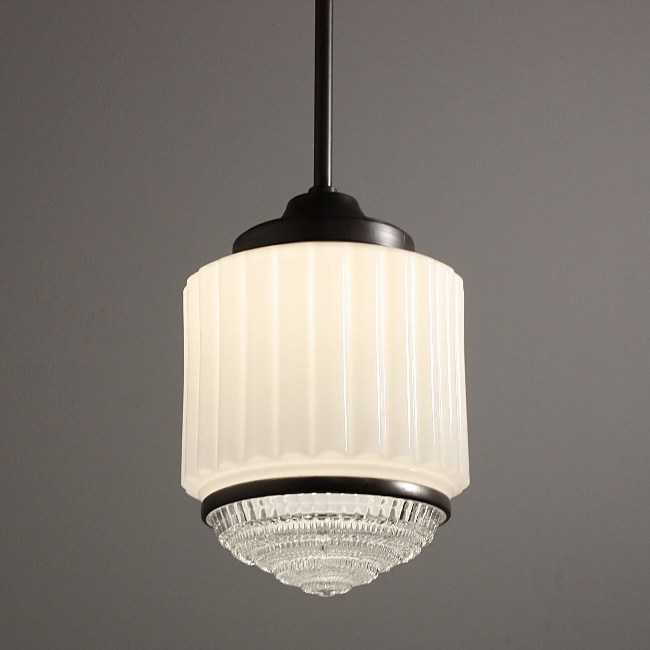 Antique Art Deco Skyscraper Pendant Light C. 1930S - Preservation within Art Nouveau Pendant Lights (Image 6 of 15)