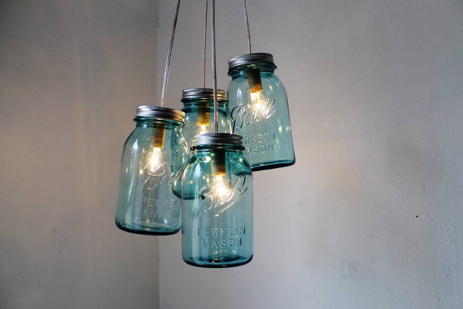 Featured Photo of Blue Mason Jar Lights Fixtures