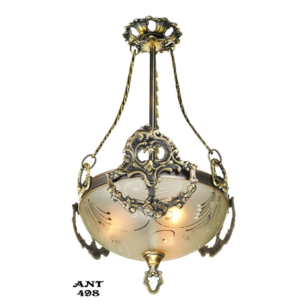 Antique Edwardian Ceiling Bowl Pendant Light Fixture Circa 1910 intended for Edwardian Lights Fixtures (Image 2 of 15)