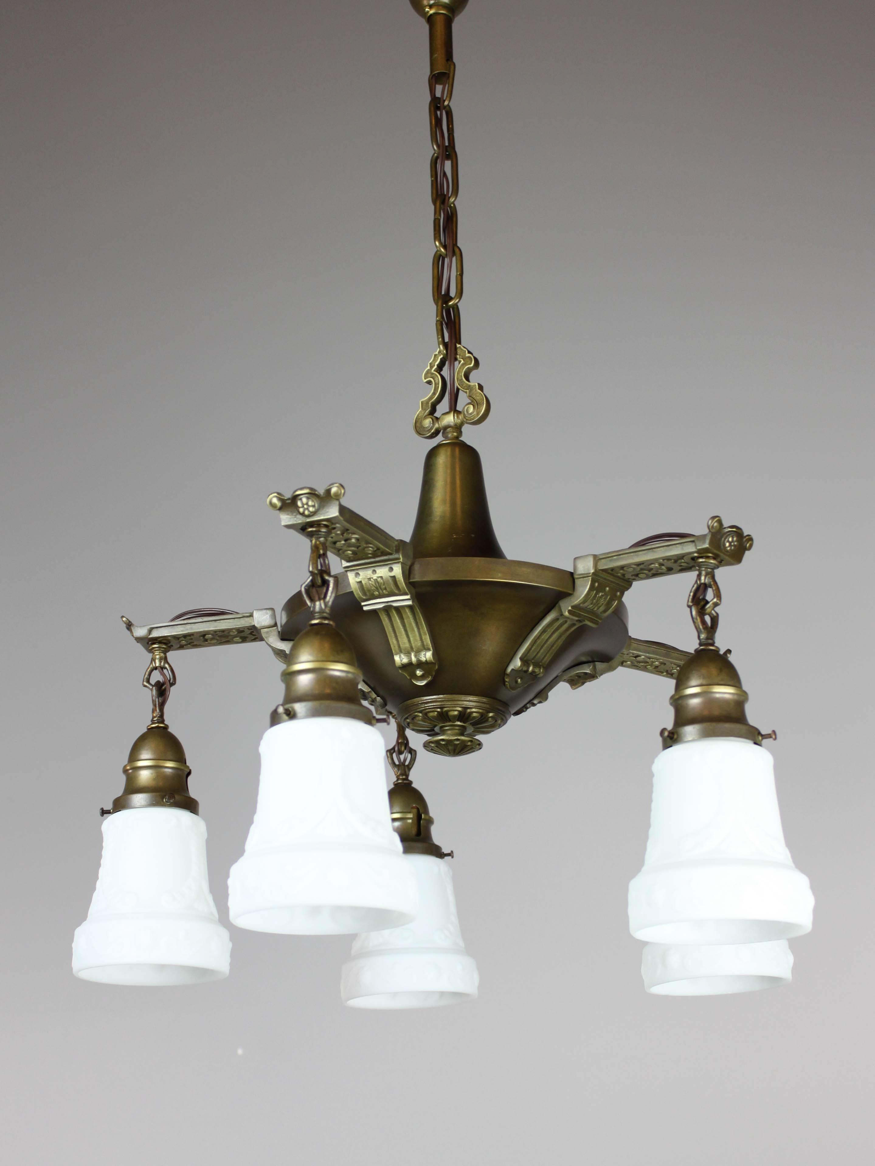 Antique Edwardian Pan Light Fixture (5-Light) | intended for Edwardian Lights Fixtures (Image 4 of 15)