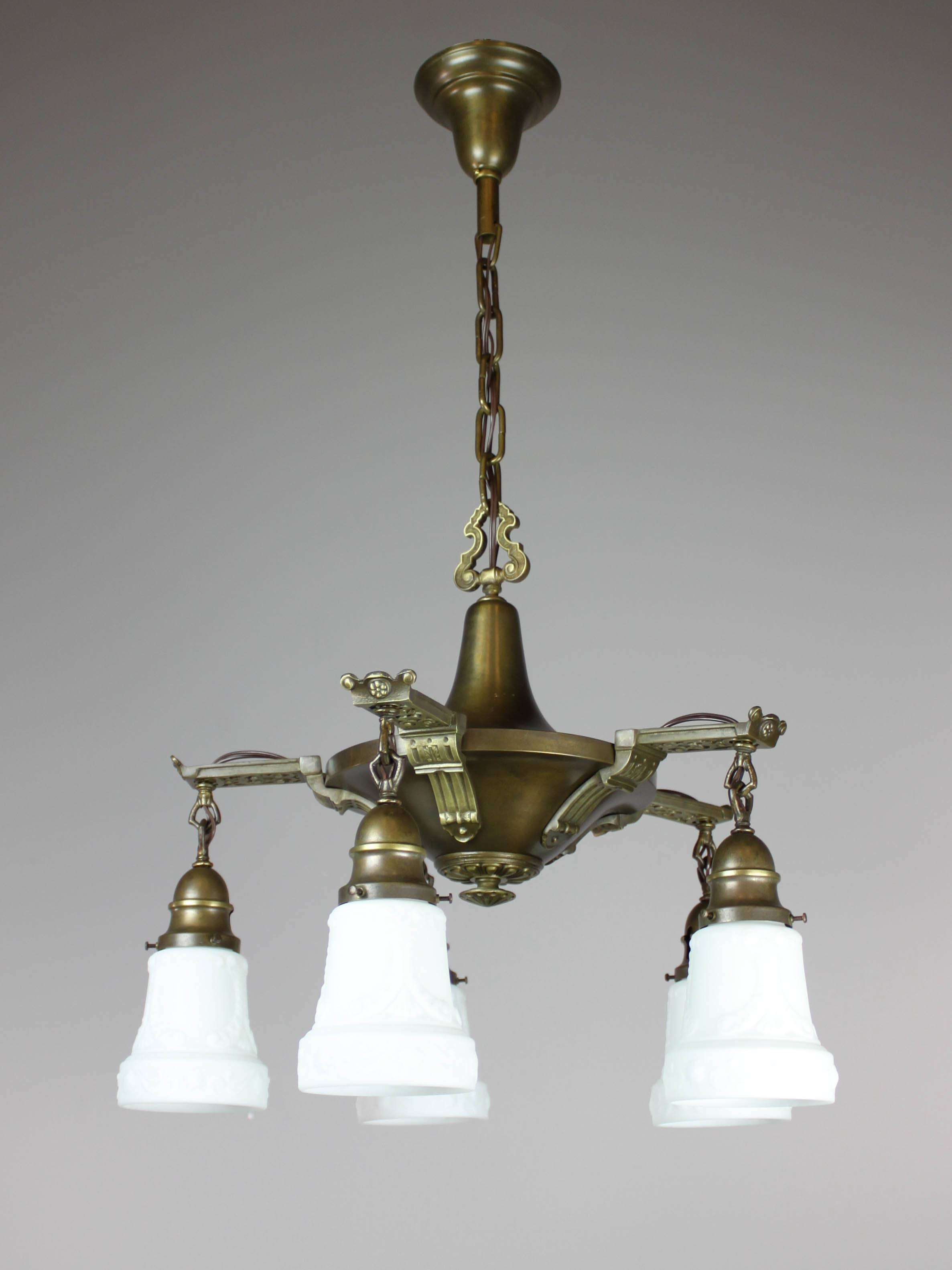 Antique Edwardian Pan Light Fixture (5-Light) | intended for Edwardian Lights Fixtures (Image 3 of 15)