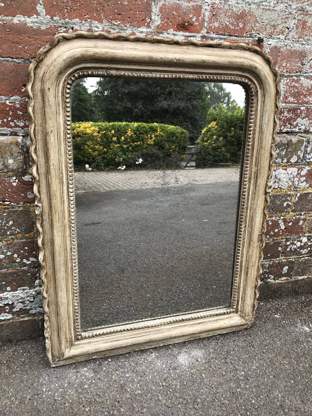 Antique French Distressed Painted Pie Crust Mirror. - Antique intended for Antique French Mirrors (Image 8 of 15)