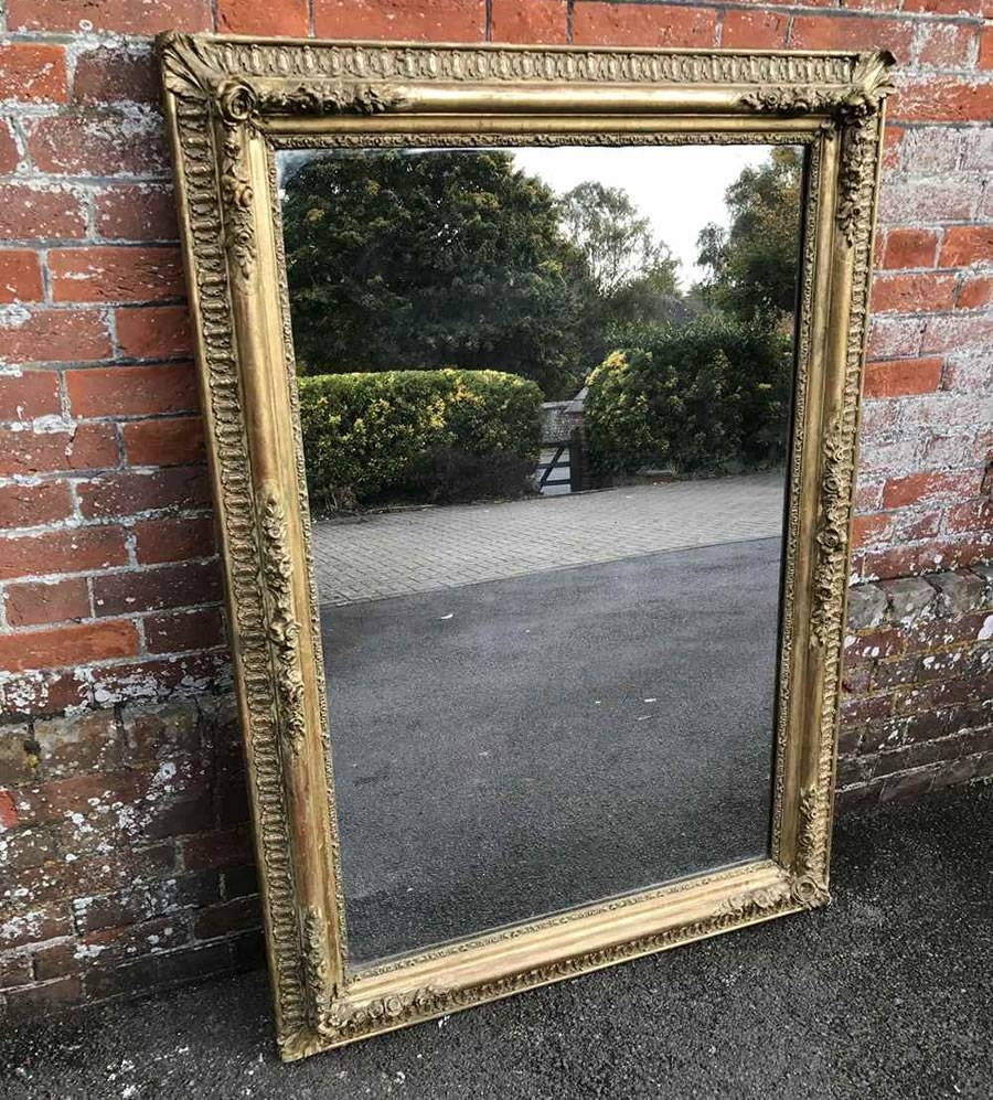 Antique French Mirrors, Antique Silver Framed Mirrors, Large Gilt inside Large Antique Silver Mirrors (Image 1 of 15)