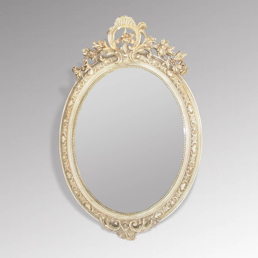 Antique French Mirrors, Antique Silver Framed Mirrors, Large Gilt pertaining to Oval Cream Mirrors (Image 2 of 15)