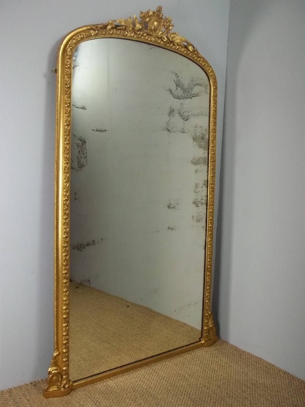 Antique Gilt Pier Console Cheval Dressing Room Wall Tall Narrow pertaining to Tall Narrow Mirrors (Image 3 of 15)