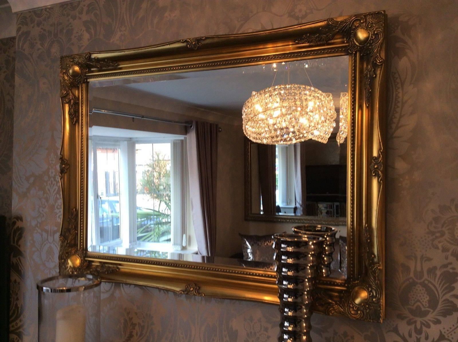 Antique Gold Shabby Chic Ornate Decorative Over Mantle Gilt Wall in Black And Gold Wall Mirrors (Image 1 of 15)