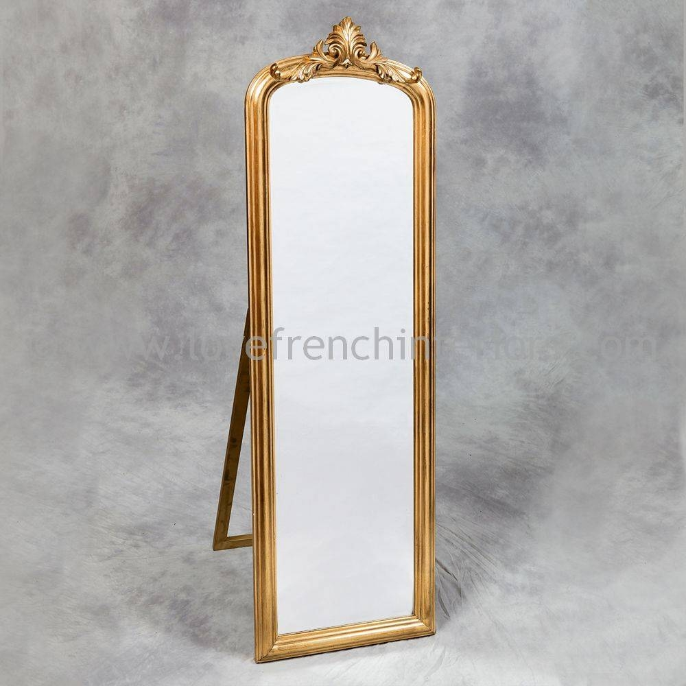 Antique Gold Tall Slim Dressing Mirror in Gold Standing Mirrors (Image 7 of 15)